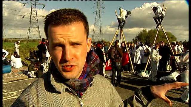hundreds of demonstrators protest at oil refinery in thurrock dan glass interview sot - thurrock stock videos and b-roll footage