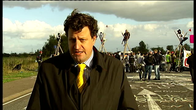 hundreds of demonstrators protest at oil refinery in thurrock england essex thurrock ext reporter to camera - thurrock stock videos and b-roll footage