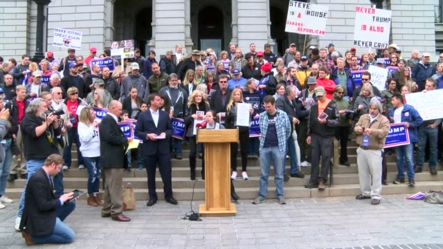 hundreds of donald trump supporters showed up at the state capitol friday to protest the republican party's system for selecting delegates to the... - 2016 stock videos & royalty-free footage
