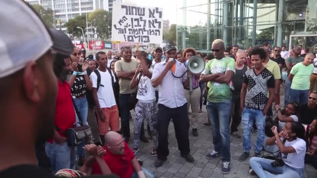 hundreds of ethiopian israeli protestors chant slogans during demonstrate against police brutality and discrimination against the ethiopian-israeli... - 2015 stock videos & royalty-free footage
