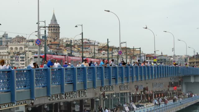 Hundreds of fishermen line the Galata Bridge in Istanbul