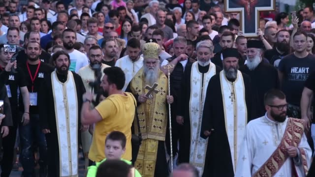 hundreds of followers of the serbian orthodox church join a protest in front of the cathedral of the resurrection of christ in podgorica on june 14,... - montenegro stock videos & royalty-free footage