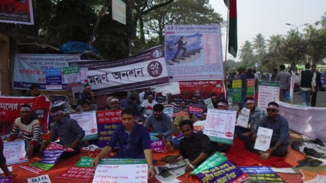 hundreds of former and current students of different private and public universities and colleges fasting unto death in front of national press club... - former stock videos & royalty-free footage