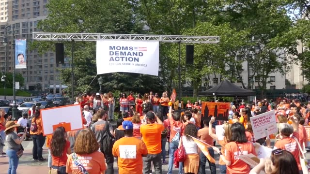 hundreds of gun violence survivors and activists, including actress julianne moore, march across the brooklyn bridge into manhattan in honor of... - brooklyn bridge stock videos & royalty-free footage