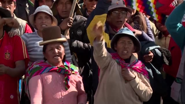 hundreds of indigenous people loyal to ex president evo morales hold a protest on sunday at the el alto municipality near la paz demanding the... - bolivia stock videos & royalty-free footage