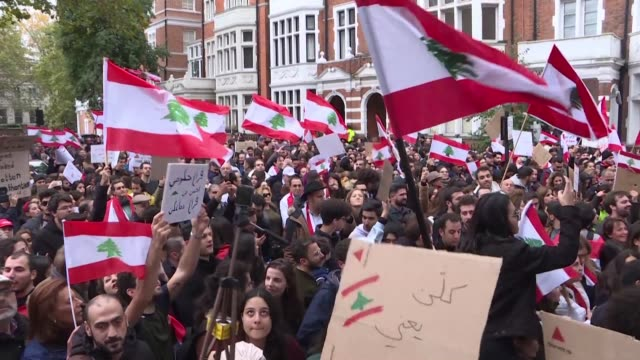 hundreds of lebanese expatriates in london gather in support of demonstrators in lebanon who took to the streets across the country for a tenth... - lebanon country stock videos & royalty-free footage