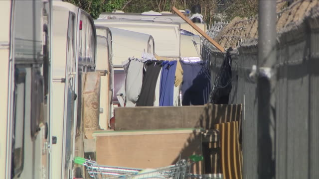 hundreds of low paid workers in britain are having to live in caravans and cars because their salaries don't cover the rising cost of rent it's a... - trailer home stock videos & royalty-free footage
