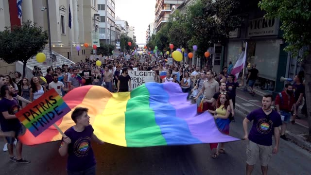 hundreds of members of the lesbian gay bisexual transgender queer and intersex community of the city of patras located in southwest greece joined by... - bisexuality stock videos and b-roll footage