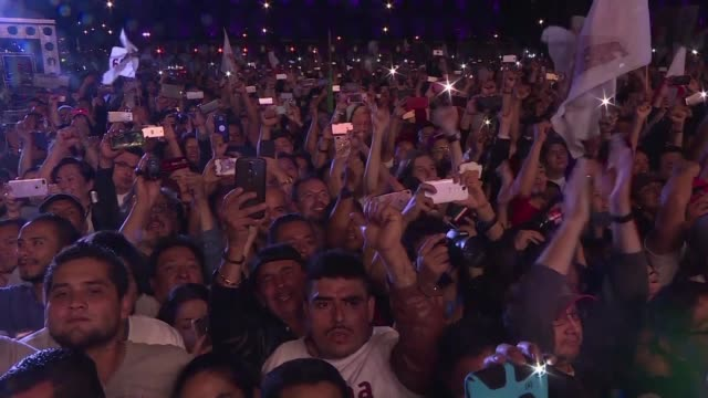 Hundreds of Mexican supporters celebrate the victory of leftist candidate Andres Manuel Lopez Obrador known as AMLO who won the country's...