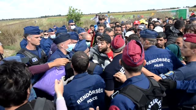 hundreds of migrants attempted to flee from hungarian police guard close to the border with serbia on monday. after preventing the migrants from... - eastern european culture stock videos & royalty-free footage