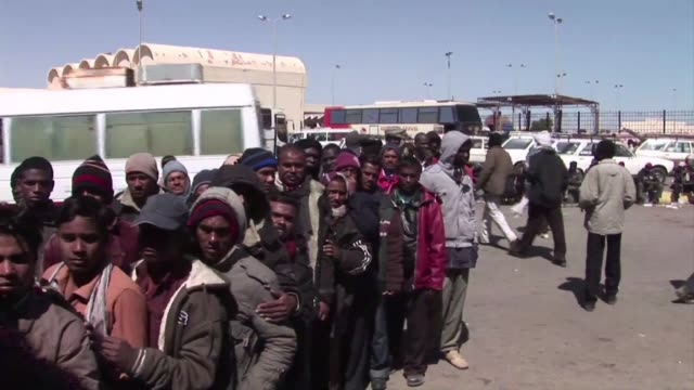 Hundreds of migrants mainly from northern Africa have fled Libya in the wake of the uprising against Moamer Kadhafi's regime Sallum Egypt