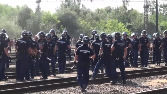 hundreds of migrants walk toward austria border after leaving the transit zone of the budapest main railway station keleti on september 4 2015 in... - flüchtling stock-videos und b-roll-filmmaterial