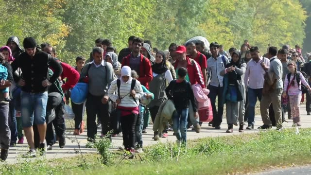 hundreds of migrants who arrived by train at hegyeshalom on the hungarian and austrian border walk the four kilometres into austria on september 23,... - eastern european culture stock videos & royalty-free footage