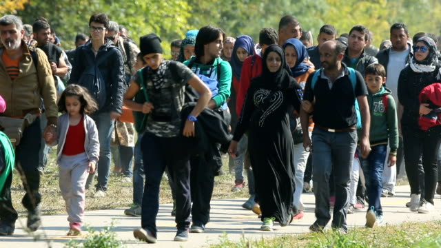 hundreds of migrants who arrived by train at hegyeshalom on the hungarian and austrian border walk the four kilometres into austria on september 23,... - budapest stock-videos und b-roll-filmmaterial