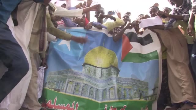 Hundreds of Mogadishu residents congregate in the capital to protest against the US President Donald Trump's recognition of Jerusalem as the Israeli...