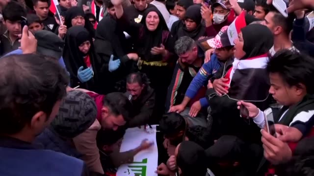 hundreds of mourners join the funeral of prominent civil society activist fahem altai after that he was killed in a drive by shooting in iraq's... - karbala stock videos & royalty-free footage