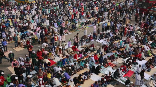 Hundreds of Muslims perform friday prayers as they take part in Biswa Ijtema the second largest religious gathering of Muslims in the world in Tongi...