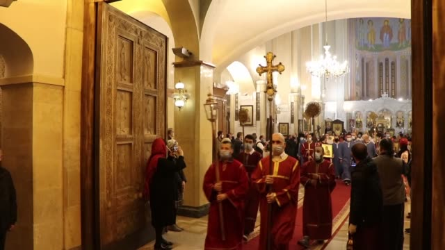 hundreds of orthodox christians wearing protective masks attend an easter service led by catholicos-patriarch of georgia ilia ii at holy trinity... - easter stock videos & royalty-free footage