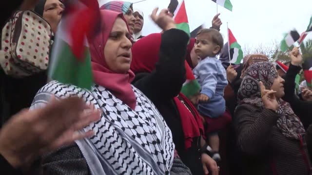 Hundreds of Palestinians demonstrated in the Gaza Strip on December 06 2017 against US President Donald Trump's plans to officially recognize...