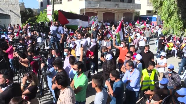 hundreds of palestinians hold a protest in the occupied west bank against last week's announcement that israel was normalising ties with the united... - palestinian stock videos & royalty-free footage