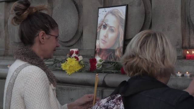 hundreds of people attend a candlelight vigil in ruse the northern town where viktoria marinova a local television journalist was found raped and... - bulgaria stock videos & royalty-free footage