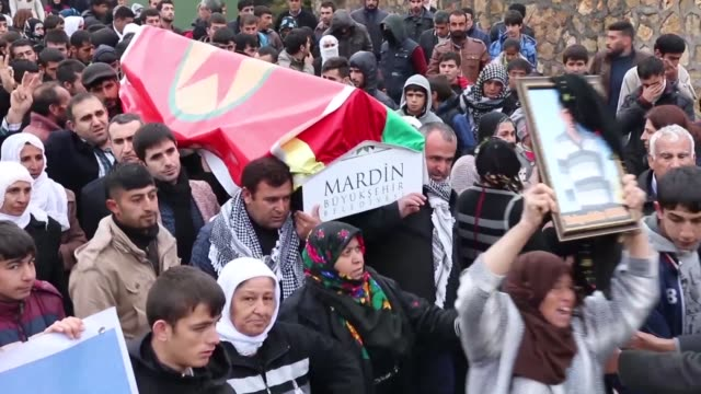 Hundreds of people attend the funeral for Takiyeddin Oral a man killed during fighting between the military and suspected Kurdistan Workers' Party...