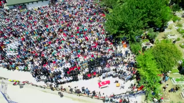 hundreds of people attend the funeral of turkish soldier suleyman yasir agir who was martyred a pkk terror attack in eastern turkey on july 15 2019... - kurdistan workers party stock videos & royalty-free footage