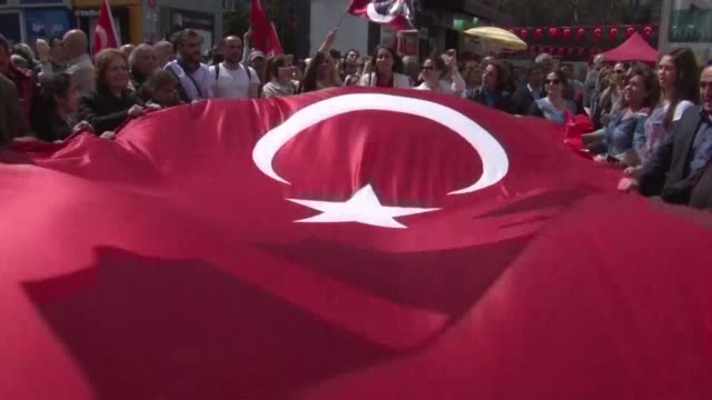 hundreds of people campaign in ankara for both the no and yes campaigns on the eve of a closelycontested referendum on expanding president recep... - referendum stock videos and b-roll footage