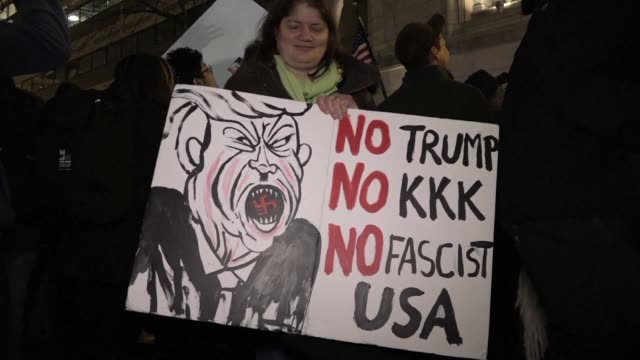 Hundreds of people demonstrate outside the Deploraball a celebration of Donald Trump's election being held the night before his inauguration at the...