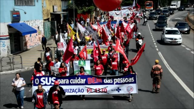 hundreds of people demonstrated across brazil tuesday against a congressional bill to increase outsourcing in the workplace - outsourcing stock videos & royalty-free footage