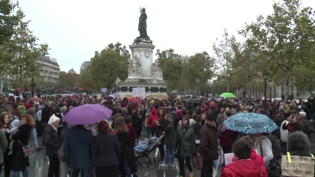 hundreds of people gather in france sunday to denounce harassment sexual assault and rape in the wake of accounts that flooded the internet using the... - social movement stock videos & royalty-free footage