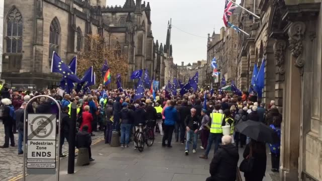 hundreds of people gathered in edinburgh on saturday to protest against brexit the rally was one of a number of events held in cities across the uk... - number of people stock videos & royalty-free footage