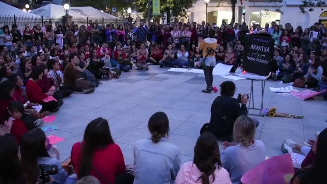hundreds of people hit the street to protest violence against women in san jose - san jose costa rica stock videos & royalty-free footage