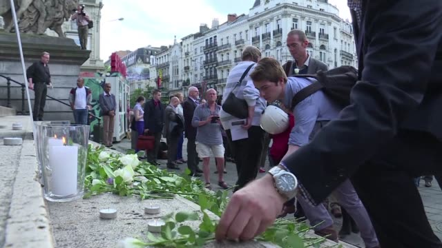 hundreds of people in brussels pay tribute to murdered british mp jo cox - jo cox politician stock videos and b-roll footage