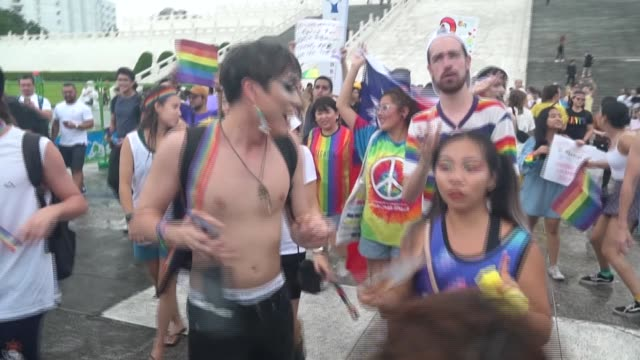 hundreds of people in taiwan attend one of the world's few pride marches as the island's lgbtq community and their supporters celebrate the 50th... - taiwan stock videos & royalty-free footage