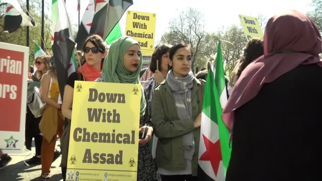 Hundreds of people march on April 08 2017 in central London to protest Bashar alAssad regime for Tuesday's deadly chemical gas attack in northwestern...