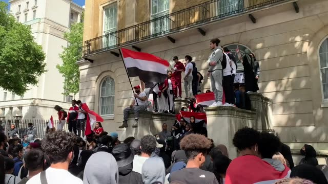 hundreds of people marched through central london on sunday to protest against the saudiled coalition conducting airstrikes in yemen and the eu... - abundance stock videos & royalty-free footage