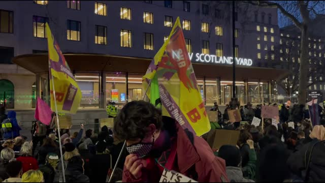 hundreds of people on monday gathered in london's parliament square to protest the police crackdown on the vigil for sarah everard on clapham common... - abundance stock videos & royalty-free footage
