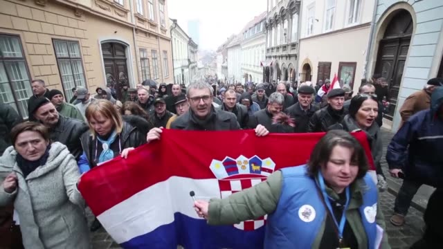 hundreds of people protest in zagreb against the visit to croatia of serbian president aleksandar vucic the first by a serbian head of state since... - zagreb stock videos and b-roll footage