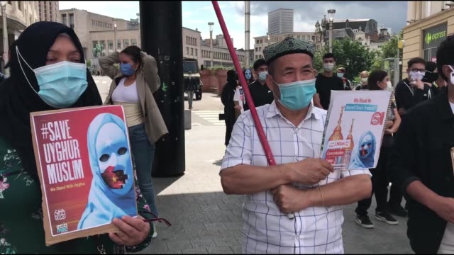 vidéos et rushes de hundreds of people stage a demonstration in belgium's capital brussels on july 26, 2020 to protest china's policies toward the uighur community. the... - embarras du choix