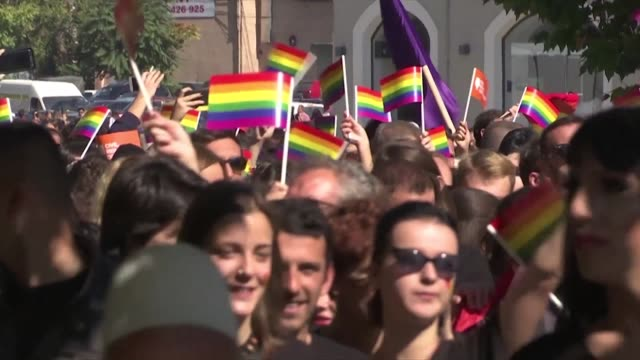 hundreds of people take part in a gay parade in pristina demanding freedom and equal rights in patriarchal and muslim majority kosovo - pride stock videos & royalty-free footage