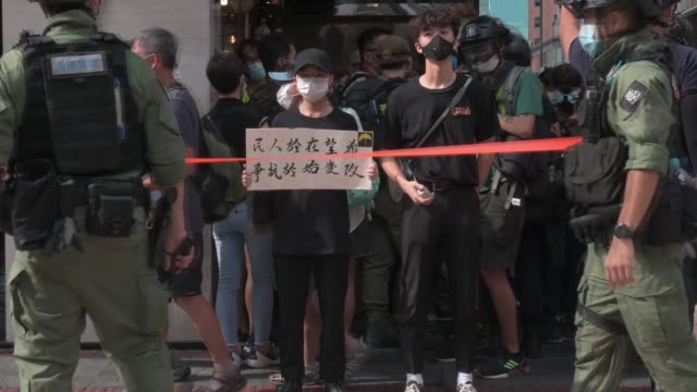 hundreds of people take to the streets of hong kong on september 06, 2020 against election postponement, the national security law, and the launch of... - taiwan stock videos & royalty-free footage