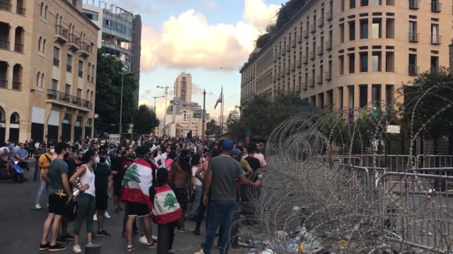 hundreds of people took part in anti-government protests in beirut on august 10, 2020 as the lebanese government said it was resigning over last... - prime minister stock videos & royalty-free footage