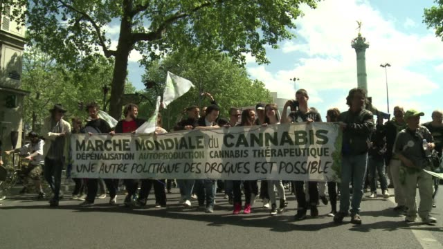 Hundreds of people took to the streets of Paris on Saturday to call for legalization of cannabis in France