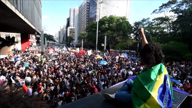 Hundreds of protesters gather on Sao Paulo's Paulista avenue to protest against Brazil's far right presidential candidate Jair Bolsonaro