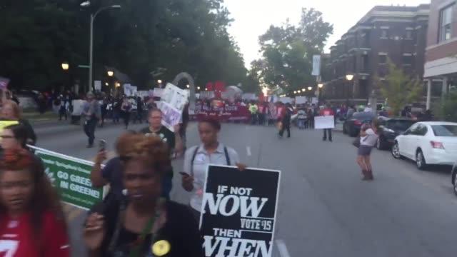 hundreds of protesters rally for in saint louis demanding minimum wage increase and supporting blacklivesmatters - saint louis bildbanksvideor och videomaterial från bakom kulisserna