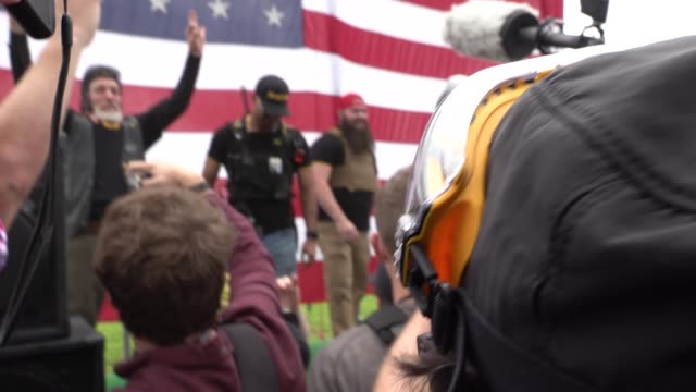 hundreds of proud boys, a splc hate group and white supremacists gather in portland the killing of a proud boy and free kyle rittenhouse kenosha... - portland oregon stock-videos und b-roll-filmmaterial