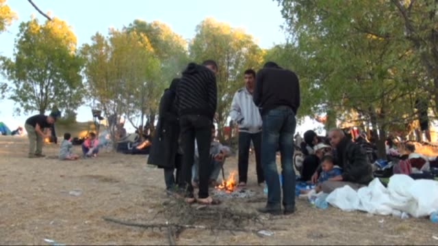 vídeos de stock, filmes e b-roll de hundreds of refugees continue waiting near the motorway after turkish gendarmerie forces stop them as they walk from istanbul to edirne on tem... - micrografia