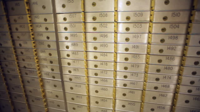 Hundreds of small numbered lockers that stripe with small keys