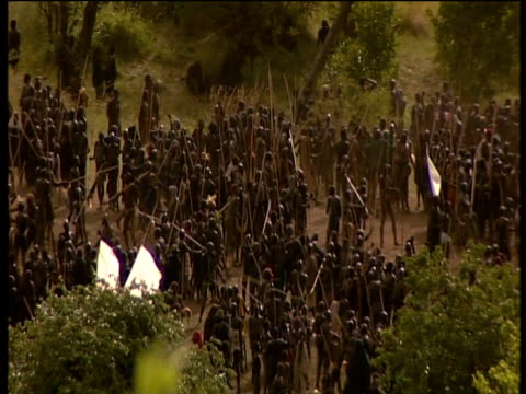 hundreds of suri tribes people gather before ceremonial donga stick fighting contest suri territory ethiopia - number of people stock videos & royalty-free footage